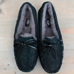 UGG DAKOTA TWINKLE SPARKLY SLIPPERS   black